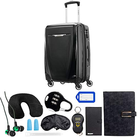 Samsonite Winfield 3 DLX Spinner 56/20 Carry-On, Black (120752-1041) with Deco Gear 10 Piece Luggage Accessory Ultimate Travel Bundle