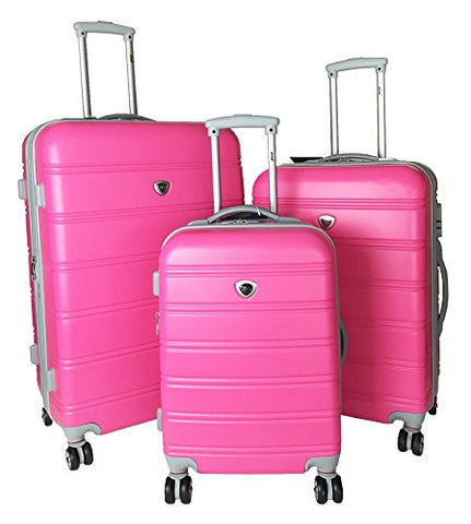 3Pc Luggage Set Suitcase Hardside Rolling 4Wheel Spinner Upright Carryon Travel Pink