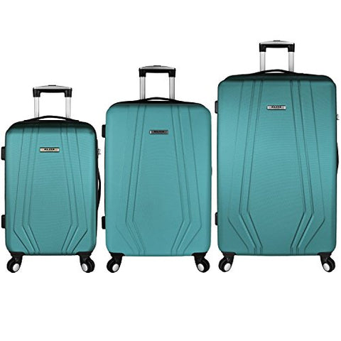 Elite Luggage Paris 3 Piece Hardside Spinner Luggage Set (Teal)