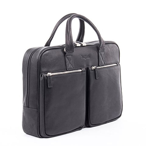 Bugatti Sartoria Zipper Large Leather Briefcase, Top Grain Leather, Black