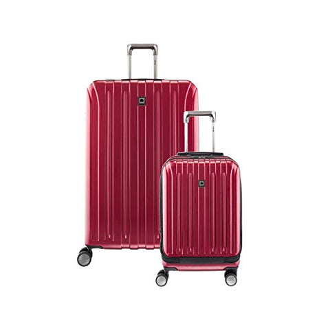 "Delsey Helium Titanium Carry On & 29"" Spin Lug, Black Cherry Red"