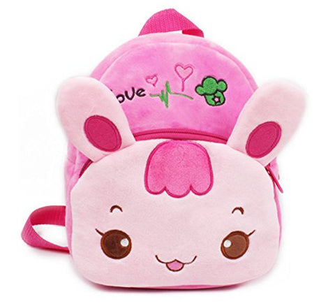 Smilesky Kid'S Backpack Toddlers Preschool Shoulder Bags Cartoon Plush Animal Bunny Bags Pink 9.5""