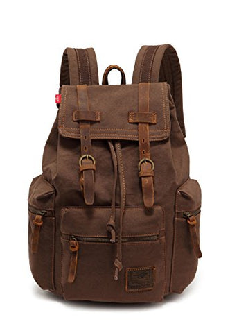 Vintage Canvas Backpack School Book Bag Casual Travel Rucksack - Coffee