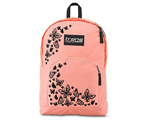 "Trans by JanSport Over 17.5"" Backpack - Butterfly Print - Coral/Black - Laptop Sleeve"