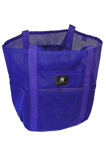 Saltwater Canvas Family Mesh Whale Bag, Sand/Waterproof Base, 9 Pockets, Purple