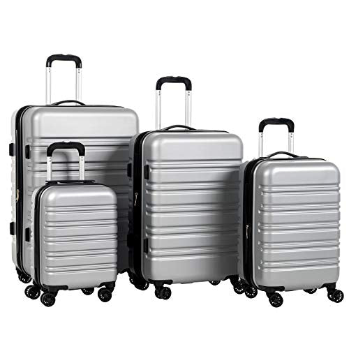 "Murtisol 4 Pieces Expandable ABS Luggage Sets TSA Lightweight Durable Spinner Suitcase 16"" 20"" 24"" 28"", 4PCS Silver"