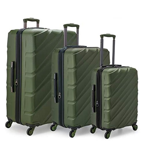 U.S. Traveler US09108E Gilmore 3 Piece Expandable Hardside 4-Wheel Spinner Luggage Set with Push-Button Handle System44; Olive Green