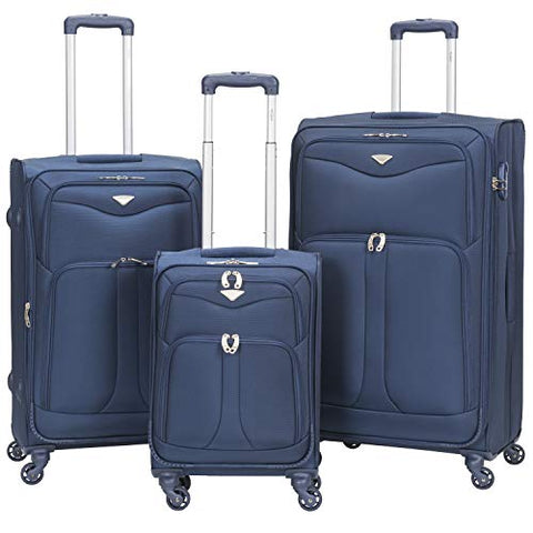 Flight Knight Lightweight 4 Wheel 800D Soft Case Suitcases Maximum Size For Delta, Cabin + Medium + Large Navy FK0039_3SET