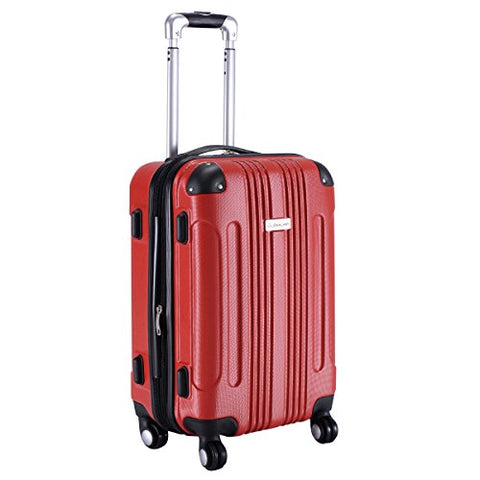 "GHP Red 14""Wx10""Thickx20""H 4-Wheel Spinner Lightweight Expandable Trolley Suitcase"