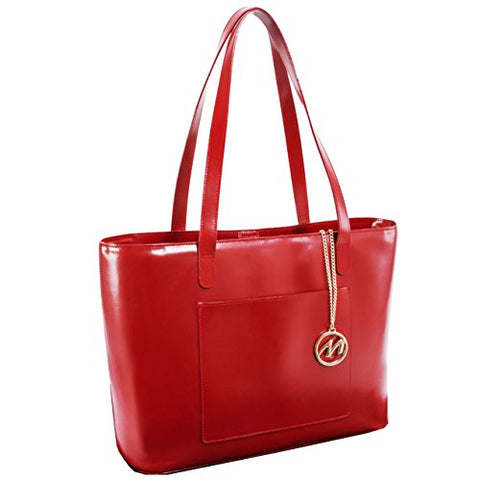 McKlein USA [Personalized Initials Embossing] Womens ALYSONLeather Shoulder Tote Bag in Red