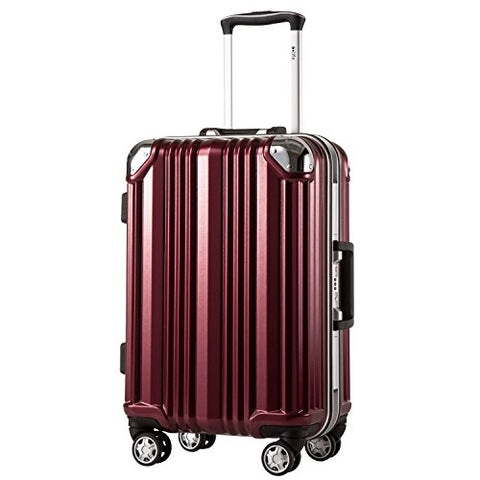Coolife Luggage Aluminium Frame Suitcase with TSA Lock 100% PC (S(20in), Wine red)