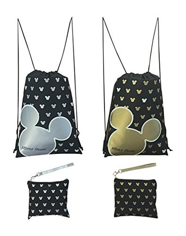 Disney Mickey Mouse Glow In The Dark Drawstring Backpack Pack Of 4 (Varied) Includes 2