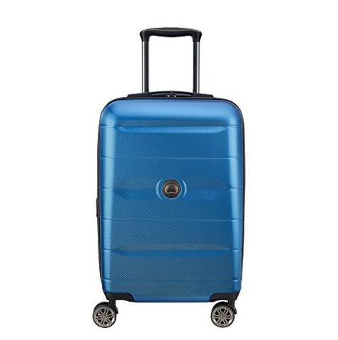 Delsey Luggage Comete 2.0 Expanable Spinner Carry-on, Steel Blue