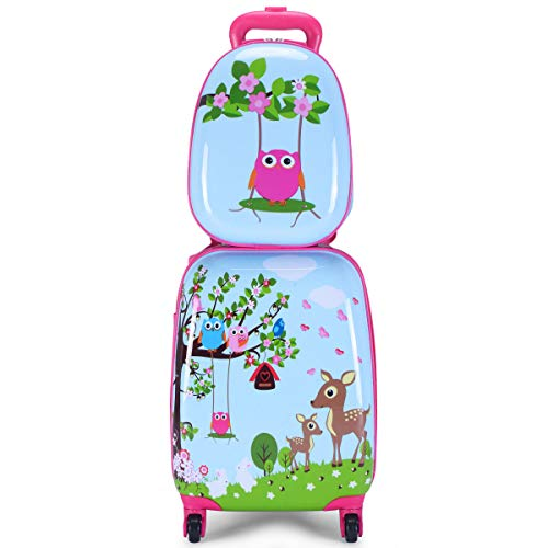 "GHP 16""×12""×8.5"" ABS Kids Animal Shaped Trolley Suitcase Luggage w 12"" School Backpack"