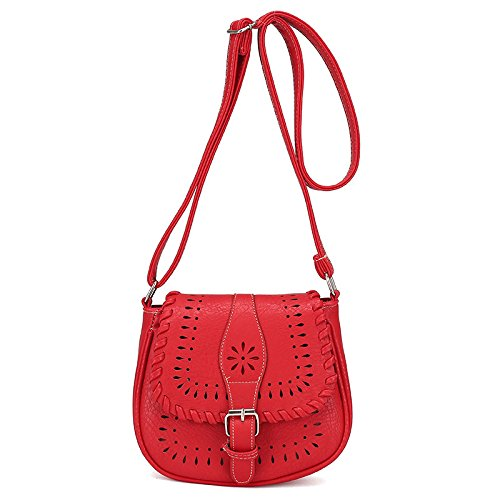 BIBITIME Back to School Hollow Out Casual Women Shoulder Crossbody Messenger Bag (LHW:7.87 7.09 3.54 IN, Red)