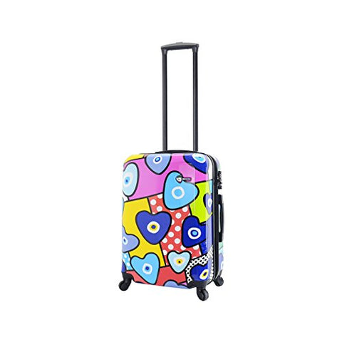 "Mia Toro Italy Evil Eye Hearts Hard Side Spinner 20"" Carry-on, Multi-Color"