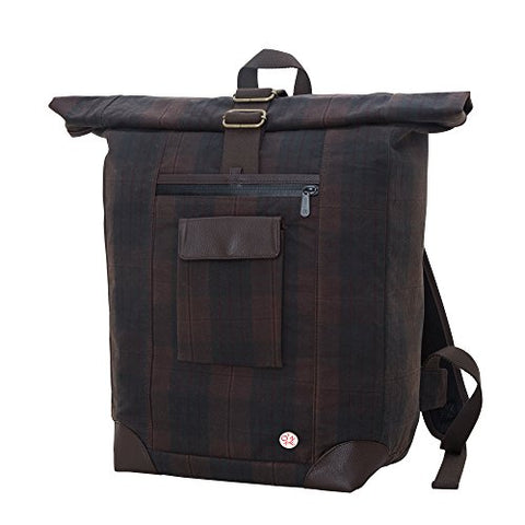 Token Bags Waxed Montrose Backpack, Dark Brown Plaid, One Size