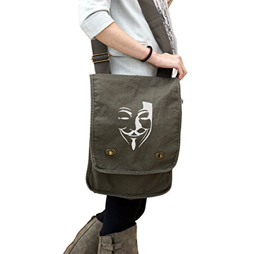V for Vendetta Inspired Mask Silhouette 14 oz. Authentic Pigment-Dyed Canvas Field Bag Tote