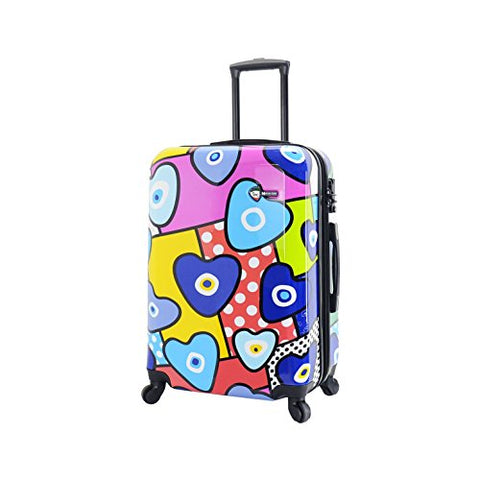 Mia Toro Italy Evil Eye Hearts Hard Side 28 Inch Spinner, Multi-Color