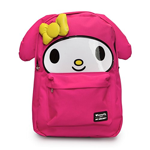 Loungefly school backpack featuring Sanrio's My Melody character. Cute extras include 3d ears and bow with embroidered details. Bag has a roomy front pocket, interior laptop pocket and a patterned lining. Exterior has a top handle, reinforced adjustable s