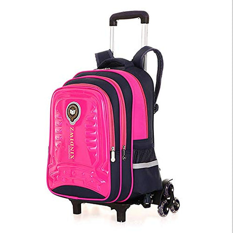 77a07b086284 Qcc& Safety Reflective Trolley School Backpack Bags With Removable  Waterproof Wheeled