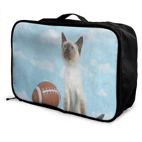 Travel Bags Hipster Cat Kitten Green Grass Football Portable Foldable Fantastic Trolley Handle Luggage Bag