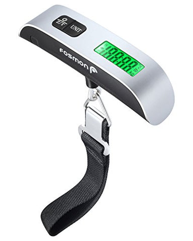 Digital Luggage Scale, Fosmon Digital LCD Display Backlight with Temperature Sensor Hanging Luggage Weight Scale, Up to 110LB with Tare Function