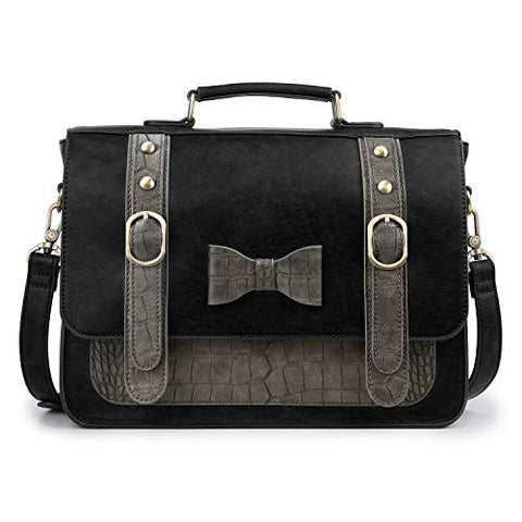 ECOSUSI Women Vintage PU Leather Messenger Shoulder Satchel Bag, Black