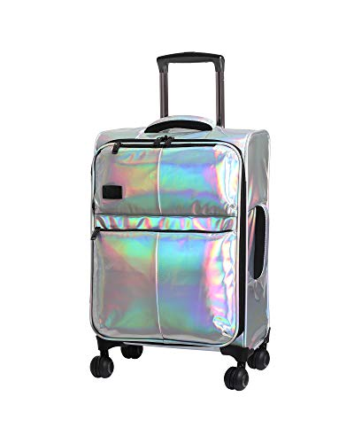 "it Girl 21.5"" Spellbound 8 Wheel Holographic Lightweight Expandable Carry-on, Silver"