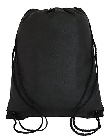 Bulk Drawstring Backpack Bags Sack Pack Cinch Tote Kids Sport Storage Bag for Gym Traveling (50, BLACK)