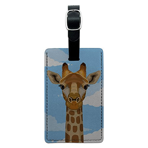 Graphics & More Giraffe In Sky-Safari Animal Leather Luggage Id Tag Suitcase Carry-On, Black
