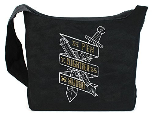 Dancing Participle The Pen is Mightier than the Sword Embroidered Sling Bag