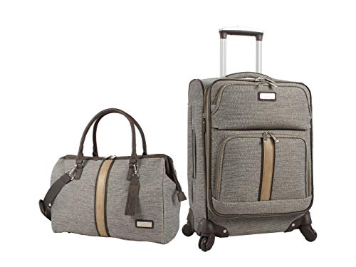 Nicole Miller Cameron Collection Expandable 2 Piece Luggage Set Spinner (One Size, Cameron Tan)