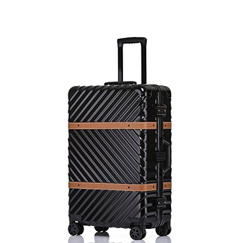 Lightweight Aluminum Frame Hardside Fashion Luggage with Detachable Spinner Wheels 28 Inch Black
