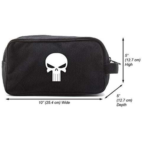 Punisher Skull Canvas Shower Kit Travel Toiletry Bag Case, Black & White