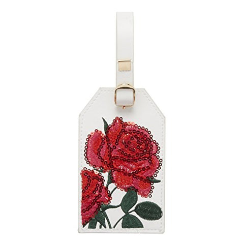 C.R. Gibson White and Red Rose Luggage Tag, 2.5'' W x 4.5'' H
