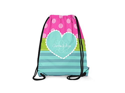 Tin Tree Gifts Customized Drawstring Backpack Black Pink Heart Personalized Backpack