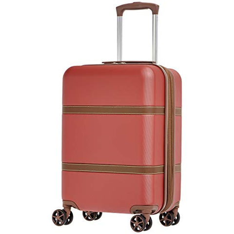 AmazonBasics Vienna Luggage Expandable Suitcase Spinner, 20-Inch Carry-On, Red