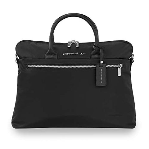 Briggs & Riley Unisex-Adult's Rhapsody Slim Business Laptop Shoulder Bag, Black, One Size
