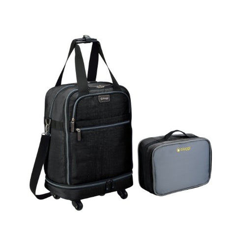 Biaggi Zipsak Micro Fold Spinner Carry-On Suitcase - 22-Inch Luggage - As Seen on Shark Tank - Black