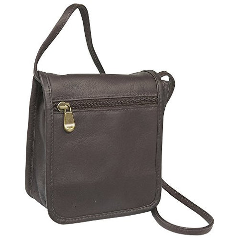 Ledonne Unisex Adult Leather Mini Full Flap Handbag, Cafe, Small