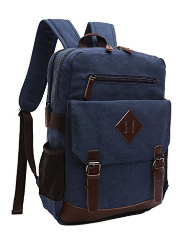 Zuolunduo Vintage Canvas College School Bag Laptop Bag Backpack M8675Sj,Darkblue