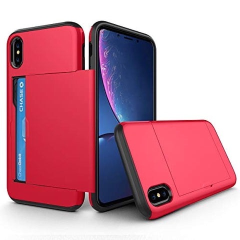 BeautyWill iPhone Xs Max Card Holder Case Wallet Slot Dual Layer Protective Cover Shock Absorption