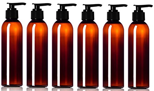 Newday Bottles, Empty Plastic Pump Bottles with Lotion Dispenser BPA-Free Made in USA (6 oz, Amber Brown, Pack of 6)