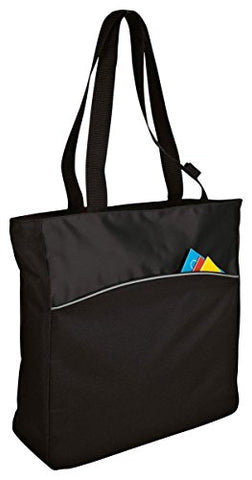 Port & Company Improved Two-Tone Colorblock Tote_Black/Black_One Size