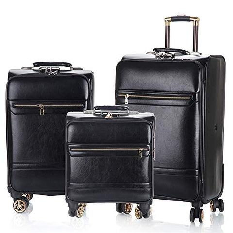 Suitcase 16in+20in+24in Waterproof PU Leather Luggage 3 Piece Sets Expandable Uprights Carry-on Suitcase With 360° Silent Spinner Multidirectional Wheels For Flight Boarding Business Suitcase