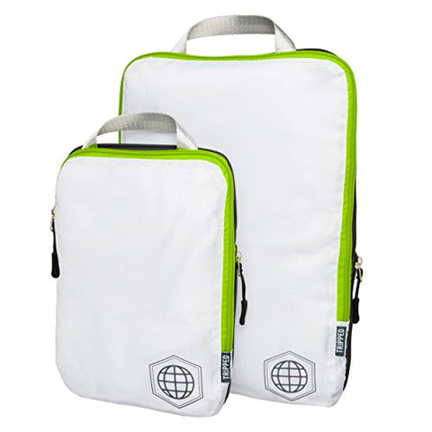 Packing Cubes Travel Organizer- Compression Travel Bags (White And Green, 2 Piece Set)