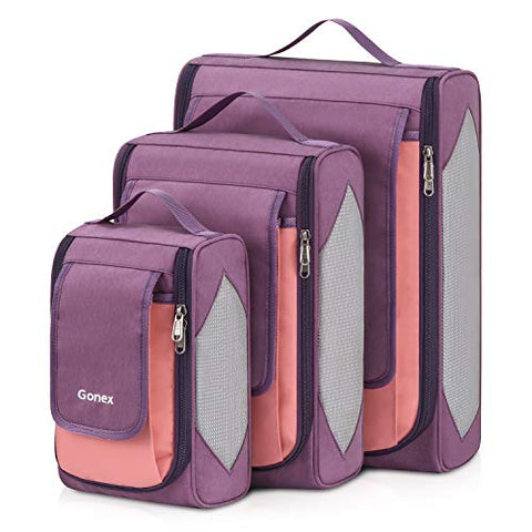 Large Packing Cubes, Gonex Business Travel Organizers 3PCs L+M+S Pink + Purple