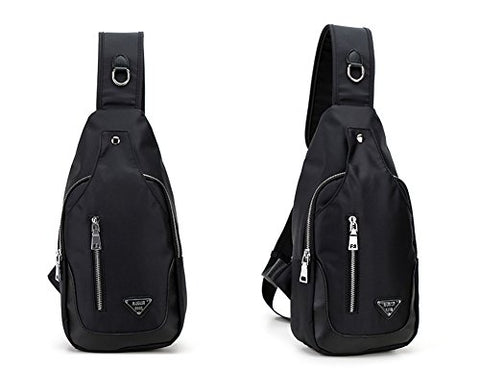New Nylon Sling Bag Chest Pack Outdoor Riding Backpack Cross-body Bag (black)