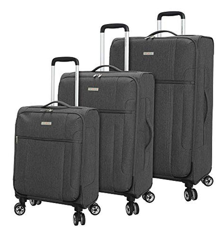 Regent Square Travel - Lightweight Luggage Set With Spinner Goodyear Wheels - Set of 3 Pieces - Soft Case - Grey